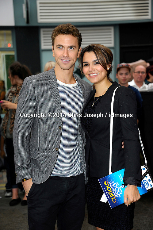 Image ©Licensed to i-Images Picture Agency. 08/07/2014. London, United Kingdom. Richard Fleeshman with Samantha Barks during the press night for 'The Curious Incident Of The Dog In The Night-Time' at Gielgud Theatre. Picture by Chris Joseph / i-Images