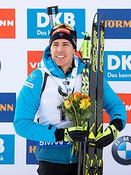 Second placed Quentin Fillon Maille (FRA) during flower ceremony after the Pursuit Men 12,5 km at day 8 of IBU Biathlon World Cup 2018/19 Pokljuka, on December 9, 2018 in Rudno polje, Pokljuka, Pokljuka, Slovenia. Photo by Urban Urbanc / Sportida