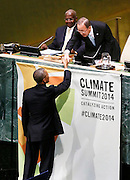 Ban Ki-moon, Secretary General of the United Nations, greets Barack Obama, President of the United States, at the Climate Change Summit at the United Nations in New York, Tuesday, Sept. 23, 2014. (Photo/Stuart Ramson/United Nations Foundation)