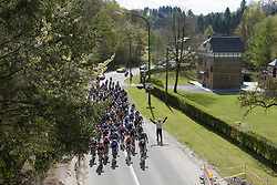 The peloton are happy for the break to go for now at La Flèche Wallonne Femmes - a 120 km road race starting and finishing in Huy on April 19 2017 in Liège, Belgium.