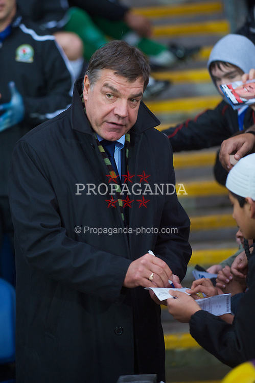 BLACKBURN, ENGLAND - Saturday, December 20, 2008: Why so glum? Blackburn Rovers' new manager Sam Allardyce before his first game in charge during the Premiership match at Ewood Park. (Photo by David Rawcliffe/Propaganda)