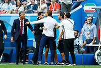 Discussion between Morocco and Iran technical staff calmed by Coach of Iran Carlos Queiroz and Morocco coach Herve Renard<br /> Saint Petersburg 15-06-2018 Football FIFA World Cup Russia  2018 <br /> Morocco - Iran / Marocco - Iran <br /> Foto Matteo Ciambelli/Insidefoto