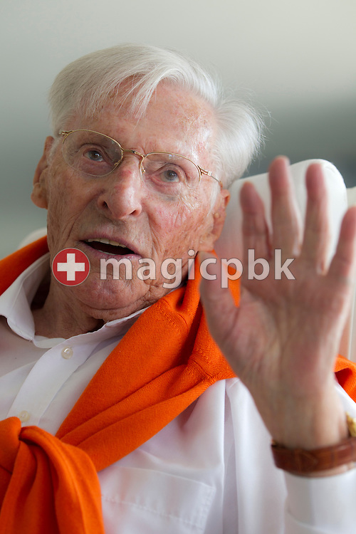 The cyclist legend Ferdy (aka Ferdinand, Ferdi) KUEBLER (born 24 July 1919) of Switzerland is pictured during an interview on the balcony of his apartment in Birmensdorf, Switzerland, Saturday, May 28, 2011. (Photo by Patrick B. Kraemer / MAGICPBK)