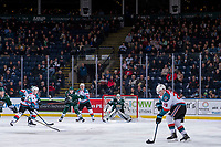 KELOWNA, CANADA - JANUARY 9:  Nolan Foote #29 of the Kelowna Rockets takes a shot on the net of Dustin Wolf #32 of the Everett Silvertips on January 9, 2019 at Prospera Place in Kelowna, British Columbia, Canada.  (Photo by Marissa Baecker/Shoot the Breeze)