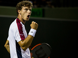 March 30, 2018 - Miami, Florida, United States - Pablo Carreno Busta, from Spain, reacts after winning a point  against Alexander Zverev, from Germany, during his semi final match at the Miami Open in Key Biscayne. Zverev defeated Carreno Busta 7-6(4), 6-2 in Miami, on March 30, 2018. (Credit Image: © Manuel Mazzanti/NurPhoto via ZUMA Press)