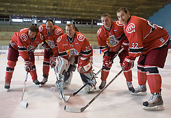 Jan Golubovski, Andrej Troscinski, Boris Tortunov, Andrej Makrov and Alexander Duck at HK Acroni Jesenice Team roaster for 2009-2010 season,  on September 03, 2009, in Arena Podmezaklja, Jesenice, Slovenia.  (Photo by Vid Ponikvar / Sportida)