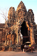 Angkor Thom Victory Gate or Angkor Thom South Entrance - Angkor Thom was the last and most enduring capital city of the Khmer empire established in the 12th century by King Jayavarman VII. It covers an area of 9 square kilometers.