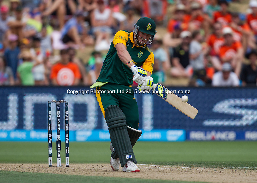 South Africa's David Miller hits a six during the ICC Cricket World Cup match - South Africa v Zimbabwe at Seddon Park, Hamilton, New Zealand on Sunday 15 February 2015.  Photo:  Bruce Lim / www.photosport.co.nz