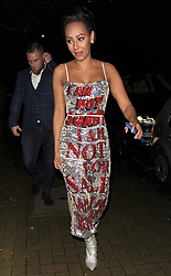 "Melanie Brown aka Mel B, is seen arriving at a private address, wearing a statement silver and red sequin dress, with the words ""I Am Not Sorry, I Am Not For Sale, I Am Not For Reproduction"" which she told snappers she had designed herself. The Spice Girl looked far from scary, as she smiled at the photographers.<br />