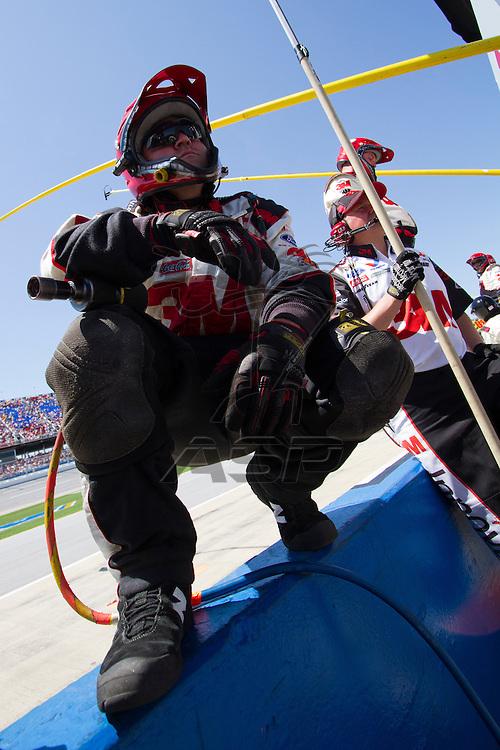 TALLADEGA, AL - APR 17, 2011:Greg Biffle (16) makes a pitstop during the Greg Biffle (16) at the Talladega Superspeedway in Talladega, AL.