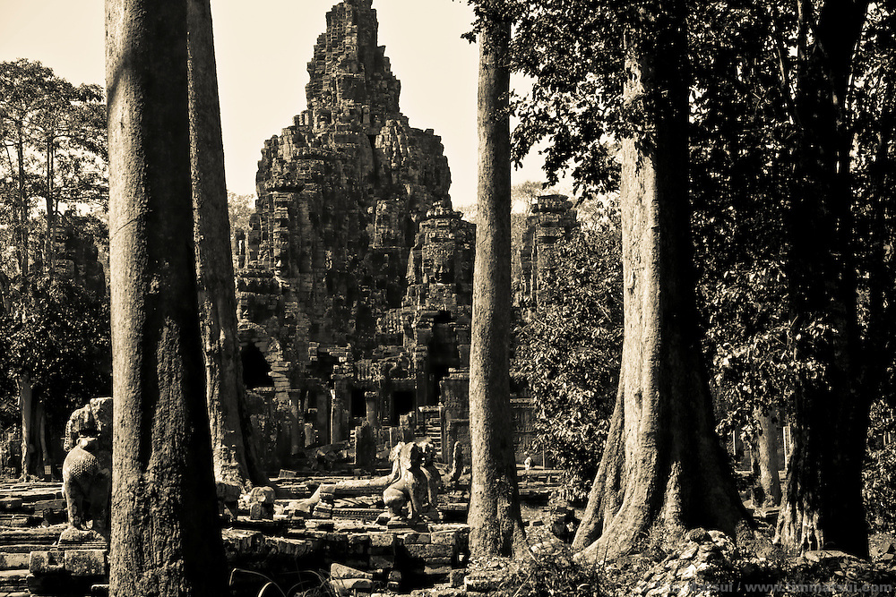 The ancient Bayon temple, part of the Angkor Wat complex in Siem Reap, Cambodia.