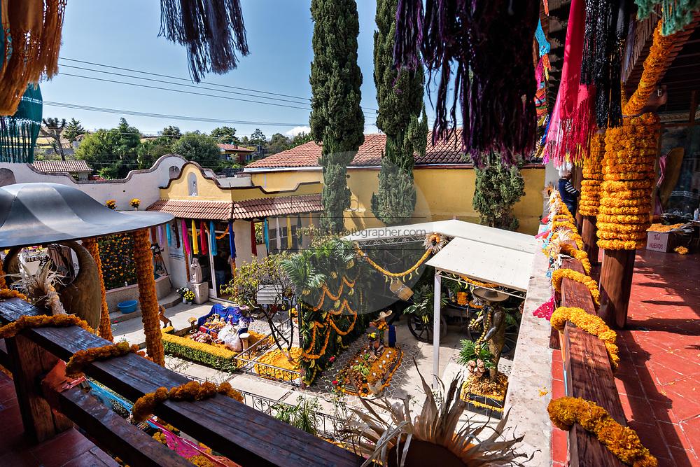 Overview of the La Casa De La Santa Muerte or House of the Saint of the Dead November 1, 2017 in Santa Ana Chapitiro, Michoacan, Mexico.