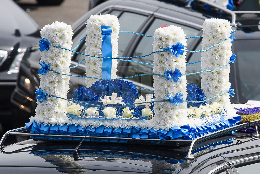 © Licensed to London News Pictures. 03/05/2018. St Mary Cray, UK. BOXING RING FLOWERS ON A CAR ROOF. The funeral of burglar Henry Vincent in St Mary Cray, Bromley, London. Henry Vincent, who is part of a traveller community in the south east London, died during an attempted burglary of the home of pensioner Richard Osborn-Brook in Hither Green. Photo credit: Ben Cawthra/LNP