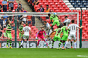 Forest Green Rovers Ethan Pinnock(16) heads clear during the Vanarama National League Play Off Final match between Tranmere Rovers and Forest Green Rovers at Wembley Stadium, London, England on 14 May 2017. Photo by Adam Rivers.