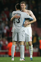 28.09.2011, Emirates Stadium, London, ENG, UEFA CL, Gruppe F, FC Arsenal (ENG) vs Olympiakos Piräus (GRE), im Bild Arsenal's Wojciech Szczesny and Arsenal's Per Mertesacker // during the UEFA Champions League game, group F, ENG, UEFA CL, FC Arsenal (ENG) vs Olympiakos Piräus (GRE) at Emirates Stadium in London, United Kingdom on 2011/09/28. EXPA Pictures © 2011, PhotoCredit: EXPA/ Newspix/ Michal Zemanek +++++ ATTENTION - FOR AUSTRIA/(AUT), SLOVENIA/(SLO), SERBIA/(SRB), CROATIA/(CRO), SWISS/(SUI) and SWEDEN/(SWE) CLIENT ONLY +++++