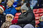 Wigan Athletic supporters during the EFL Sky Bet League 1 match between Wigan Athletic and Fleetwood Town at the DW Stadium, Wigan, England on 9 December 2017. Photo by Michał Karpiczenko.