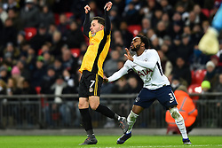 February 7, 2018 - London, United Kingdom - Tottenham Hotspur's Danny Rose gives Robbie Willmott of Newport County a little tug during the FA Cup Fourth Round replay match between Tottenham Hotspur and Newport County at Wembley stadium, London, England on 10 Feb  2018. (Credit Image: © Kieran Galvin/NurPhoto via ZUMA Press)