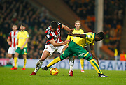 Sheffield United's Ryan Leonard and Norwich City's Alexander Tettey during the EFL Sky Bet Championship match between Norwich City and Sheffield Utd at Carrow Road, Norwich, England on 20 January 2018. Photo by John Marsh.