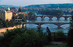 CZECH REPUBLIC PRAGUE AUG97 - General view of the Vltava river flowing through Prague, with some of its eleven bridges crossing the river.. . jre/Photo by Jiri Rezac. . © Jiri Rezac 1997. . Tel:   +44 (0) 7050 110 417. Email: jiri@jirirezac.com. Web:   www.jirirezac.com