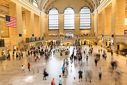 THEMENBILD - Grand Central Terminal ist ein Bahnhof fuer Pendlerzuege und die Schnellbahn in Midtown Manhattan, im Bild eine Innenansicht mit einer Belichtungszeit von 1 Sekunde, Aufgenommen am 08. August 2016 // Grand Central Terminal is a commuter, rapid transit railroad terminal at 42nd Street and Park Avenue in Midtown Manhattan. The picture shows the interior with an exposure time of 1 second, New York City, United States on 2016/08/08. EXPA Pictures © 2016, PhotoCredit: EXPA/ Sebastian Pucher