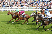 MR LUPTON (2) [Green & White colours far side] ridden by jockey Tony Hamilton and trained by Richard Fahey winning The MansionBet Sprint Handicap Stakes over 5f (£50,000)at York Racecourse, York, United Kingdom on 26 May 2018. Picture by Mick Atkins.