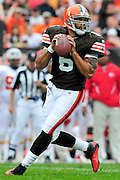 Sept. 19, 2010; Cleveland, OH, USA; Cleveland Browns quarterback Seneca Wallace (6) during the first quarter against the Kansas City Chiefs at Cleveland Browns Stadium. Mandatory Credit: Jason Miller-US PRESSWIRE