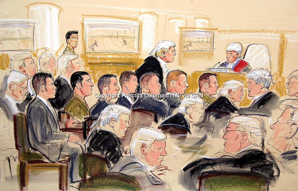 ©PRISCILLA COLEMAN ITN.SUPPLIED BY PHOTONEWS SERVICE LTD 12.09.05.PIC SHOWS:Artists drawing of proceedings at Colchester Court Martial. L-R Gregorio, Vosloo, May, Jackson, Nervy, Harding, Evans...