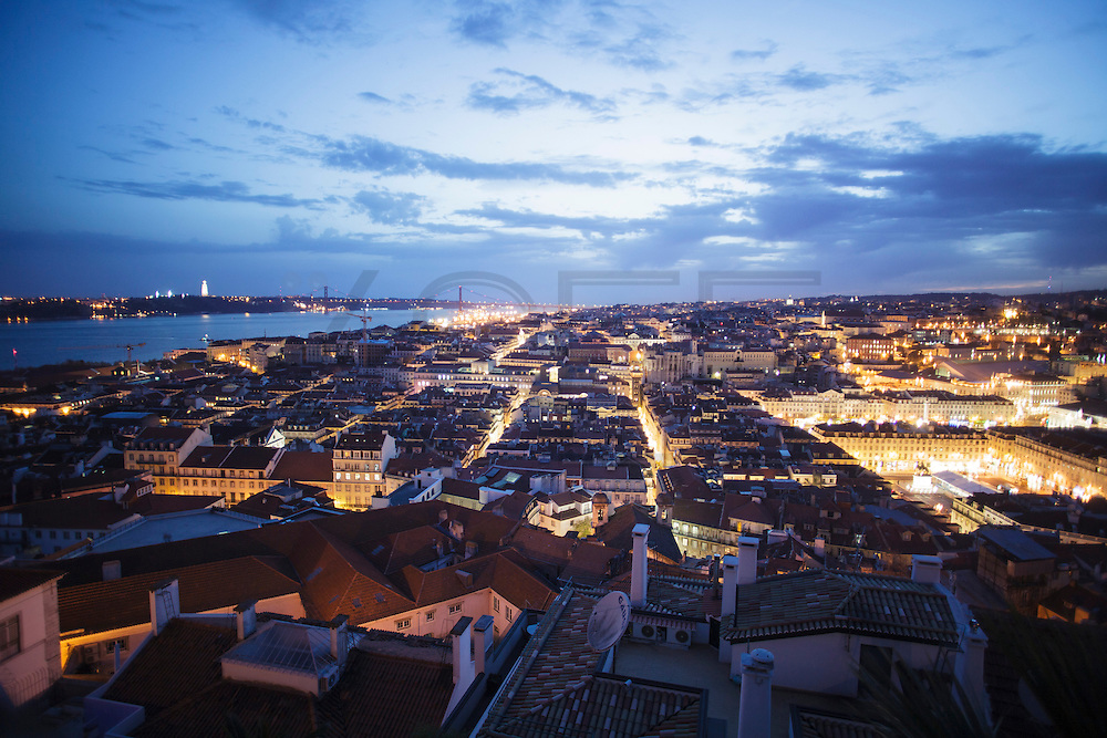 Lisbon twilight view from Saint George Castle.