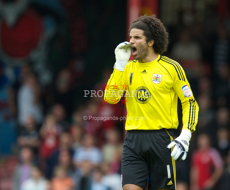 BRISTOL, ENGLAND - Saturday, August 7, 2010: Bristol City's new signing England international goalkeeper David James in action against Millwall during the League Championship match at Ashton Gate. (Pic by: David Rawcliffe/Propaganda)