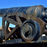 Cannon Inside Fort Montagu in Nassau, Bahamas <br />