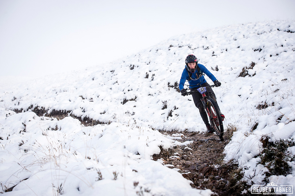 Sam Conolly enjoying the snow section at the top of stage three of the Kinlochleven Enduro.
