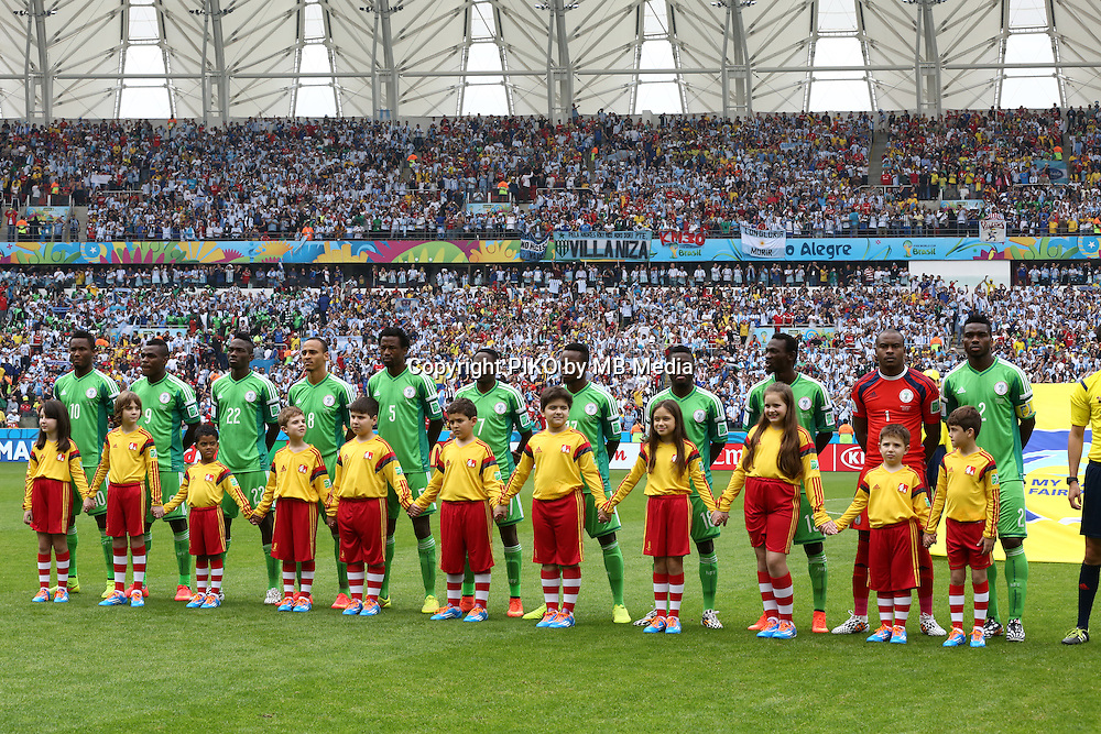 Fifa Soccer World Cup - Brazil 2014 - <br /> NIGERIA  (NGA) Vs. ARGENTINA (ARG) - Group F - Estadio Beira-RioPorto Alegre - Brazil (BRA) - June 25, 2014 <br /> Here Nigeria team before the match.<br /> &copy; PikoPress