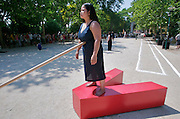 VENICE, ITALY..50th Biennale of Venice.Performance by students of Marina Abramovic in front of the Giardini..(Photo by Heimo Aga)