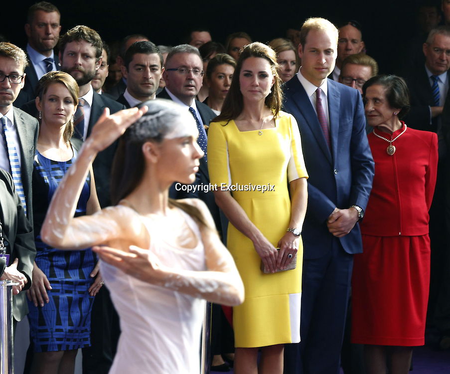 April 16, 2014 - Sydney, AUSTRALIA - <br /> <br /> Prince William and Kate, Duchess of Cambridge<br /> <br /> Britain's Prince William, second from right at front, and his wife Kate, the Duchess of Cambridge, center, watch an Aboriginal welcome performance during a reception at the Sydney Opera House Wednesday, April 16, 2014. The royal couple, along with their son Prince George, are on a 10-day official visit. <br /> &copy;Exclusivepix