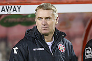 Walsall manager Dean Smith during the Sky Bet League 1 match between Swindon Town and Walsall at the County Ground, Swindon, England on 24 November 2015. Photo by Shane Healey.