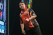 Mensur Suljovic celebrates winning a leg during the PDC World Darts Championship at The MotorPoint Arena, Cardiff. Pictures taken by Shane Healey.