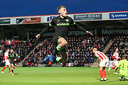 Forest Green Rovers George Williams(11) scores a goal 0-2 and celebrates during the EFL Sky Bet League 2 match between Cheltenham Town and Forest Green Rovers at Jonny Rocks Stadium, Cheltenham, England on 29 December 2018.