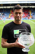 Blackburn Rovers&rsquo;  Jason Lowe collects his goal of the season award. Skybet football league championship match, Blackburn Rovers v Wigan Athletic at Ewood Park in Blackburn, England on Saturday 3rd May 2014.<br /> pic by Chris Stading, Andrew Orchard sports photography.