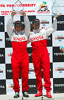 Apr 12, 2003; Long Beach, CA, USA; Pro Category Winner JEREMY McGRATH with overall race winner PETER RECKELL & thier first place trophy's @ the 27th Annual Pro/Celebrity Race in Long Beach racing Toyota Celica race cars.  Driving 10 laps on a 1.97 mile track along shoreline drive. <br />