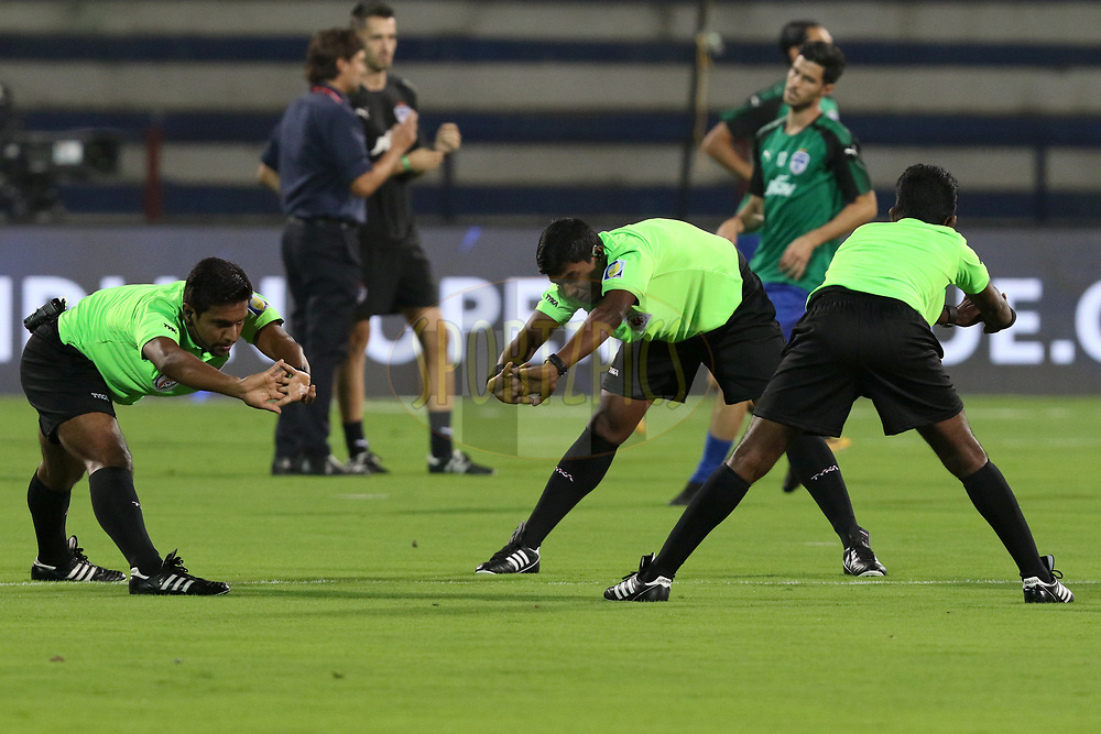 Match referees warming up before the match 10 of the Hero Indian Super League between Bengaluru FC and Delhi Dynamos FC held at the Sree Kanteerava Stadium, Bangalore, India on the 26th November 2017<br /> <br /> Photo by: Faheem Hussain / ISL / SPORTZPICS