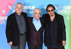 Robert De Niro, Martin Scorsese and Al Pacino at The Irishman photocall, part of the BFI London Film Festival 2019, May Fair Hotel. Photo credit should read: Doug Peters/EMPICS