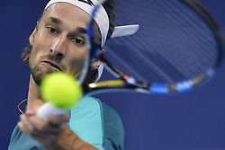October 20, 2017 - Antwerp, Belgium - RUBEN BEMELMANS of Belgium in action against Joao Sousa of Portugal during their match at the European Open in Antwerp. Bemelmans won 2:1.  (Credit Image: © Panoramic via ZUMA Press)