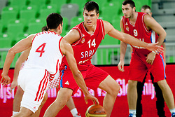 Zoran Erceg of Serbia during friendly basketball match between National teams of Serbia and Croatia of Adecco Ex-Yu Cup 2012 as part of exhibition games 2012, on August 4, 2012, in Arena Stozice, Ljubljana, Slovenia. (Photo by Urban Urbanc / Sportida)