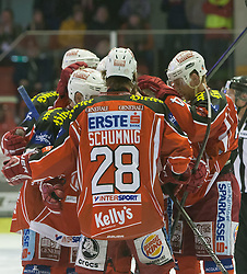 08.12.2013, Stadthalle, Klagenfurt, AUT, EBEL, KAC vs die Dornbirner, 49. Runde, im Bild Martin Schumnig (Kac, #28), John Lammers (Kac, #20), Jamie Lundmark (Kac, #74), Colton Fretter (Kac #17) // during the Erste Bank Icehockey League 49th Round match betweeen EC KAC and die Dornbirner at the City Hall, Klagenfurt, Austria on 2013/12/08. EXPA Pictures © 2013, PhotoCredit: EXPA/ Gert Steinthaler