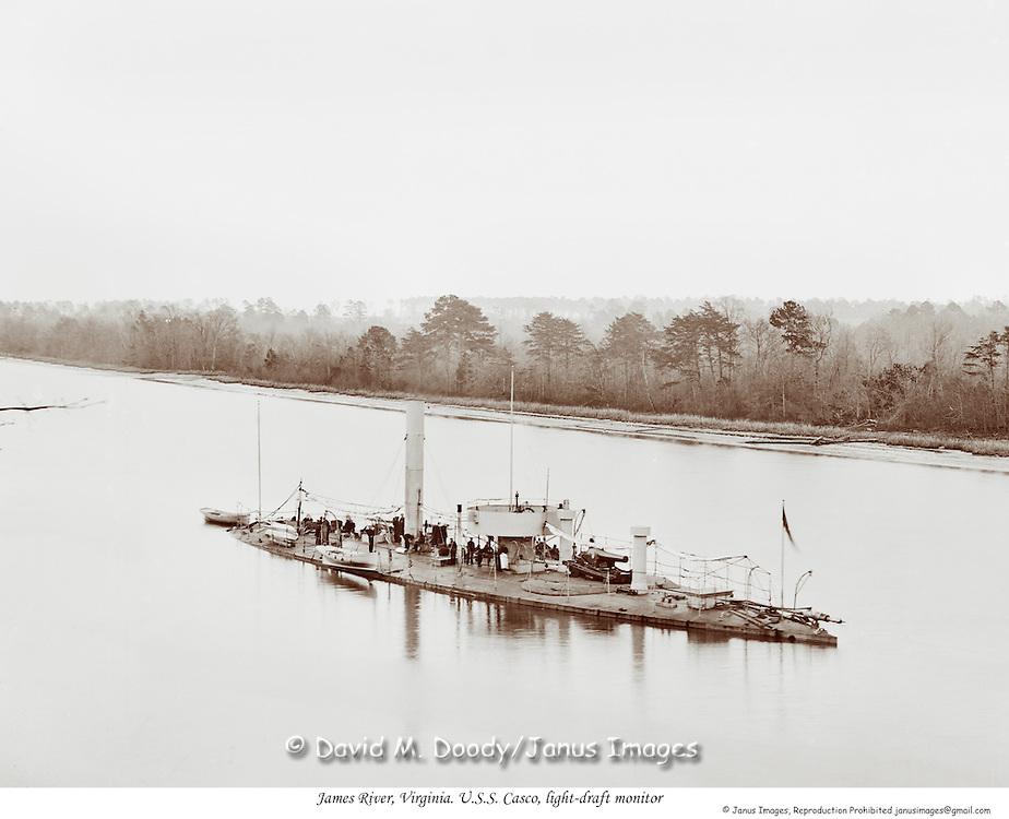 Civil War on the James River, Virginia. U.S.S. Casco, light-draft monitor.c1863-65.