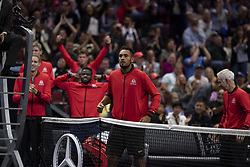 September 22, 2018 - Chicago, Illinois, U.S - Team World celebrates JOHN ISNER'S point during the first singles match between Team Europe and Team World on Day Two of the Laver Cup at the United Center in Chicago, Illinois. (Credit Image: © Shelley Lipton/ZUMA Wire)