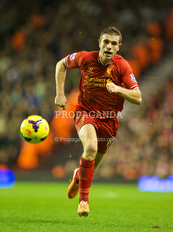 LIVERPOOL, ENGLAND - Saturday, January 18, 2014: Liverpool's Jordan Henderson in action against Aston Villa during the Premiership match at Anfield. (Pic by David Rawcliffe/Propaganda)