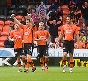 John Daly goal celebration - Dundee United v Hearts, Clydesdale Bank Scottish Premier League at Tannadice Park..© David Young Photo.5 Foundry Place.Monifieth.Angus.DD5 4BB.Tel: 07765252616.email: davidyoungphoto@gmail.com.http://www.davidyoungphoto.co.uk