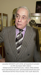 Jeweller KENNETH JAY LANE, at a party in London on 9th October 2001.<br />OSX 4