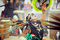 "In their sixth annual gathering called ""Day of Indigenous Resistance,"" Xochinecuhtli Alvarez (Nectar of a Flower) of the Salinas dance group Yaocuauhtli looks to the sky. Held as a deliberate counterpoint to Columbus Day, which is also sometimes called ""Day of the Races,"" or ""Hispanic Day,"" the event on Thursday, October 11th, 2012 was meant to highlight long-standing New World traditions, saying ""We are Aztecas, Zapotecas, Mexicas, Toltecas, Huicholes, Trikis, Mayas, Incas, Tarahumara, etc,"" and encouraging everyone to express pride in their pre-Colombian identities."